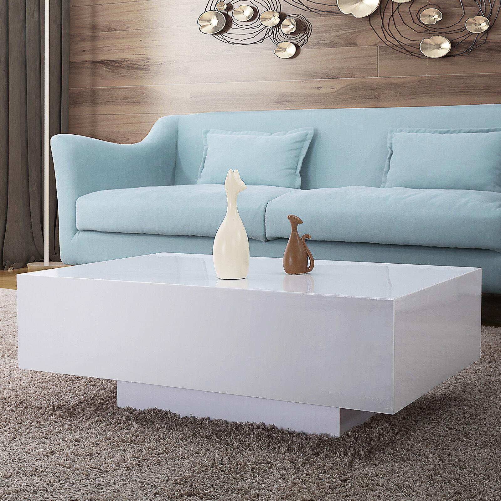Modern high gloss white coffee table rectangle living room furniture l85cm