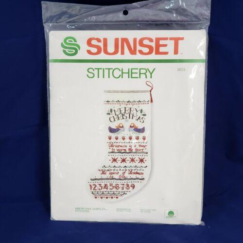 "Vintage 1983 Sunset Stitchery Stocking Kit 2033 American Sampler Stocking 18"""