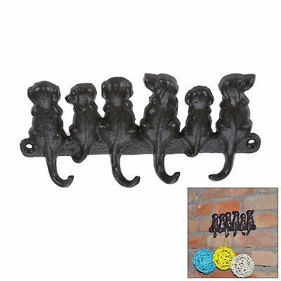 Dog Tail Door Wall Hook Coat Key Towel Hanger 4 Hooks Cast Iron Storage Holder
