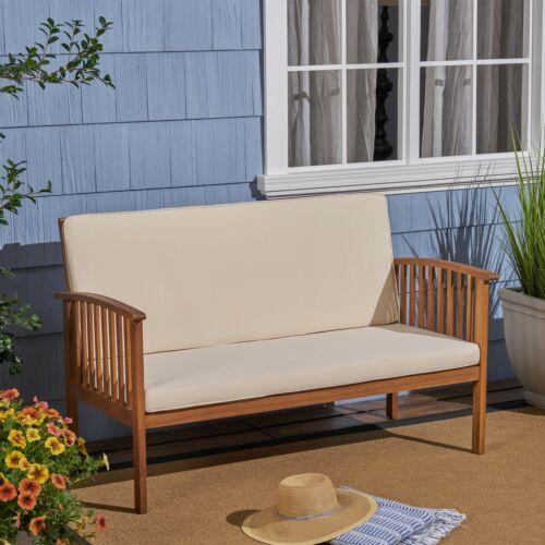 Grace Outdoor Acacia Wood Loveseat Home & Garden