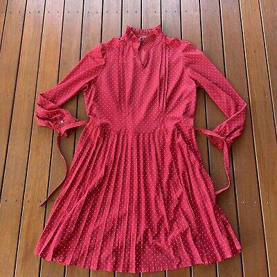 80s Dresses | Casual to Party Dresses Vintage Fits L Tea Dress Red Dolina Sydney Long Sleeve W Belt Cocktail Party $29.96 AT vintagedancer.com