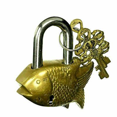 Golden Fish Shape Lock Antique Finish Handmade Brass Padlock & Keys Home Decor M