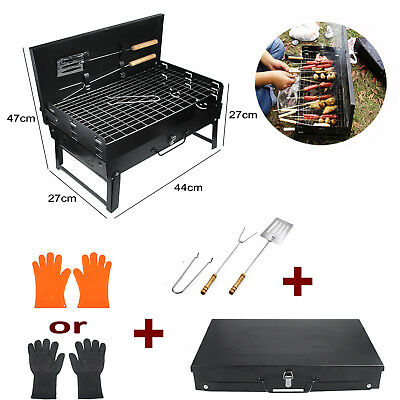 Folding Portable BBQ Stove Charcoal Barbecue Grill Garden Cooking Outdoor Gloves