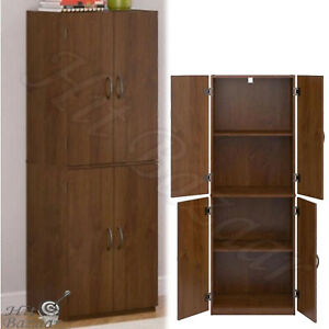 Kitchen Pantry Cabinet Storage Wood Tall Organizer Adjule Shelves Furniture
