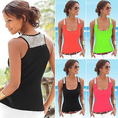 Women Ladies Boho Sleeveless Tank Top Beach Casual Slim Fit Blouse Loose Shirt Clothing, Shoes & Accessories