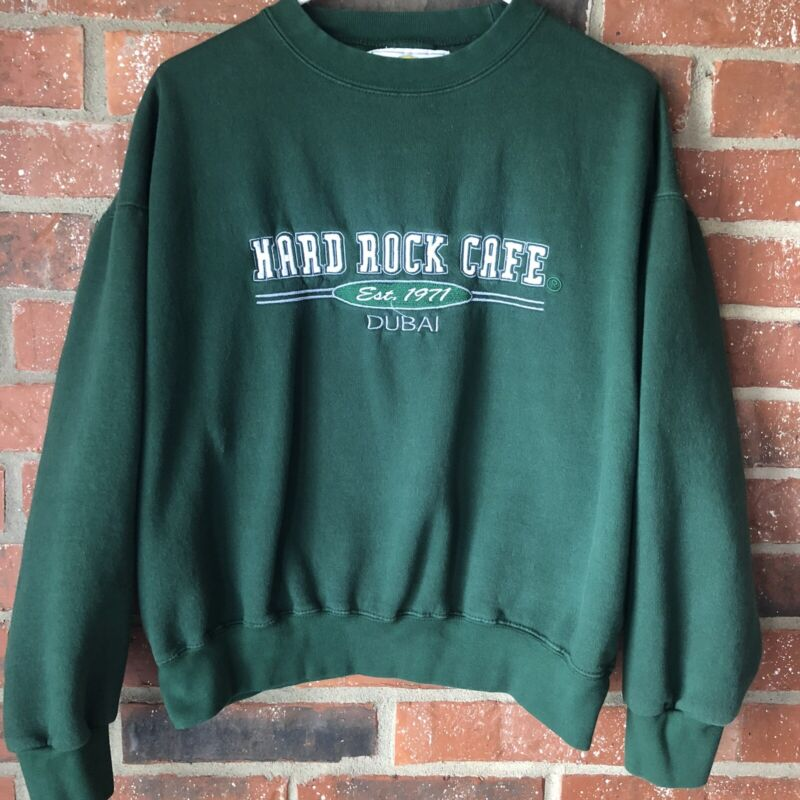 Vintage Hard Rock Cafe DUBAI Est 1971 Green Sweatshirt Size Large