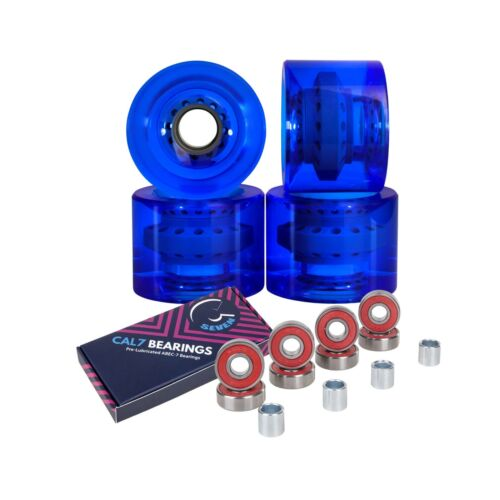 Cal 7 65mm 80a Skateboard Cruiser Wheels with ABEC-7 Bearings (Transparent Blue)