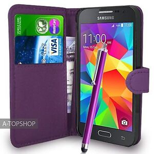 Purple Wallet Case PU Leather Book Cover For Samsung Galaxy Ace Plus GT-S7500