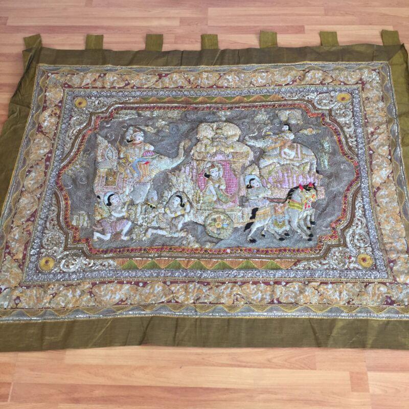 kalaga tapestry wall hanging vintage thai burmese embroidered bead elephant old