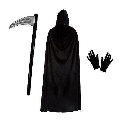 Grim Reaper Halloween Fancy Dress Costume Set (Cape, Scythe & Gloves)