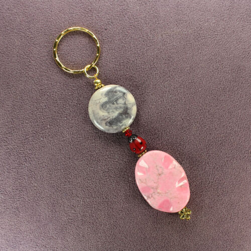 LADYBUG TERRA ROSA JASPER PINK MAGNESITE KEY CHAIN Gold Ring Genuine Stone