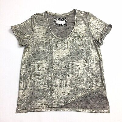 ANTHROPOLOGIE  Gold Foil  Metallic  T-shirt top woman's  Size small