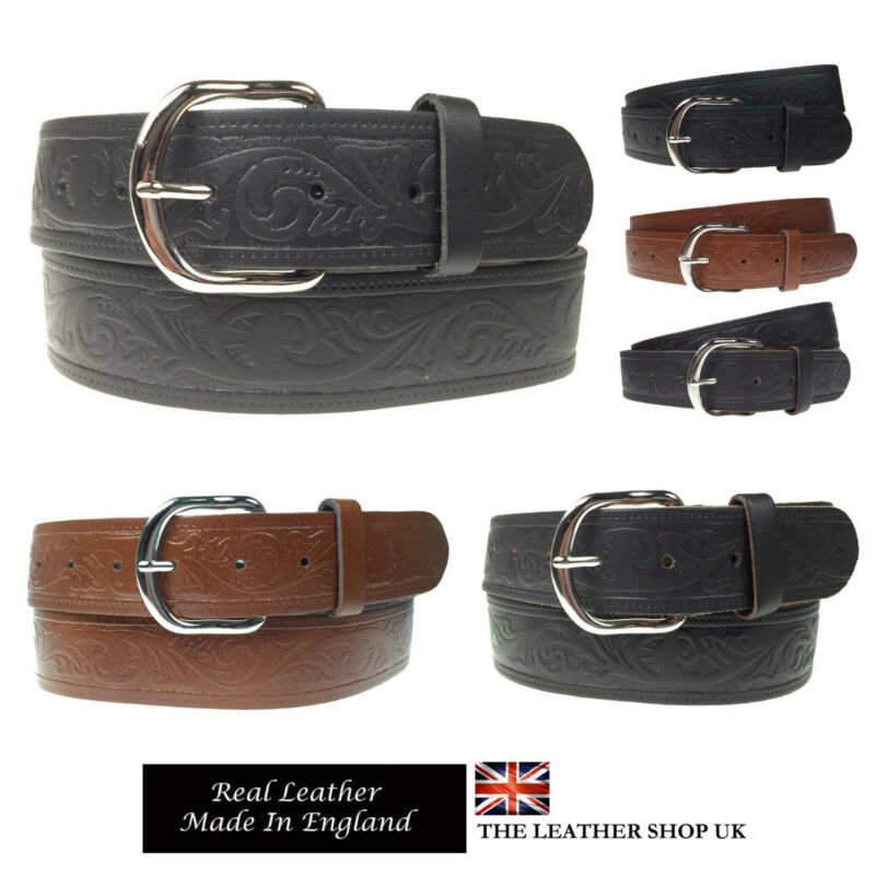 "Mens Womens 1.5/"" Silver Buckle Handmade In England Real Leather Jeans 40mm Belt"