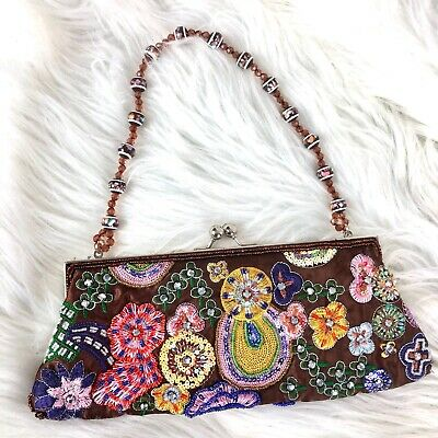Vintage Wristlet Kisslock Clutch Embroidered Satin Beaded Flowers Front & Back  Flower Beaded Satin Clutch