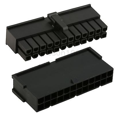Black 24 Pin Male & Female ATX Power Connector Sockets and 48 Pins - PSU Modding