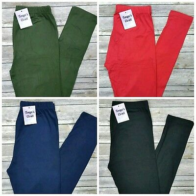 PLUS Buttery Soft Solid Leggings Black Navy Red Olive 10 Colors 10-18 TC