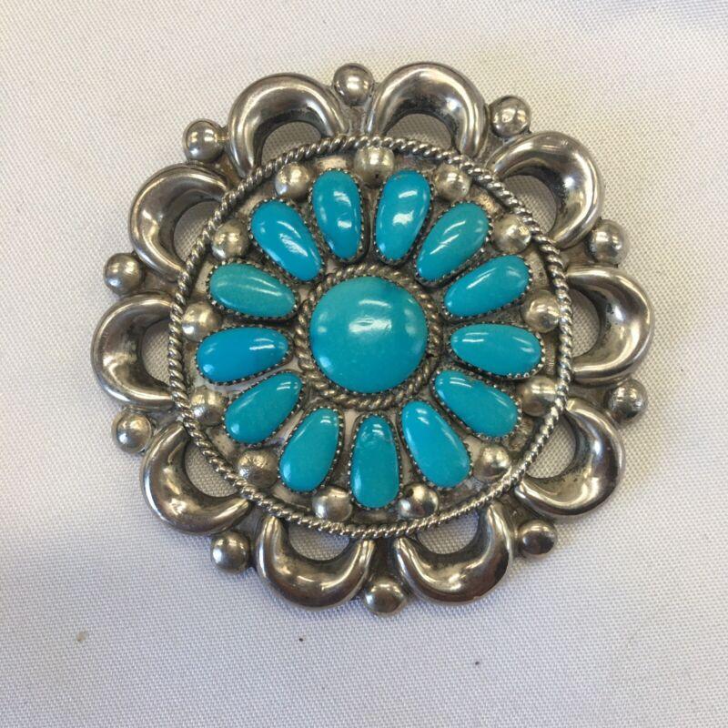 Zuni Julie O Lahi Silver Turquoise Pin Pendant Petit Point