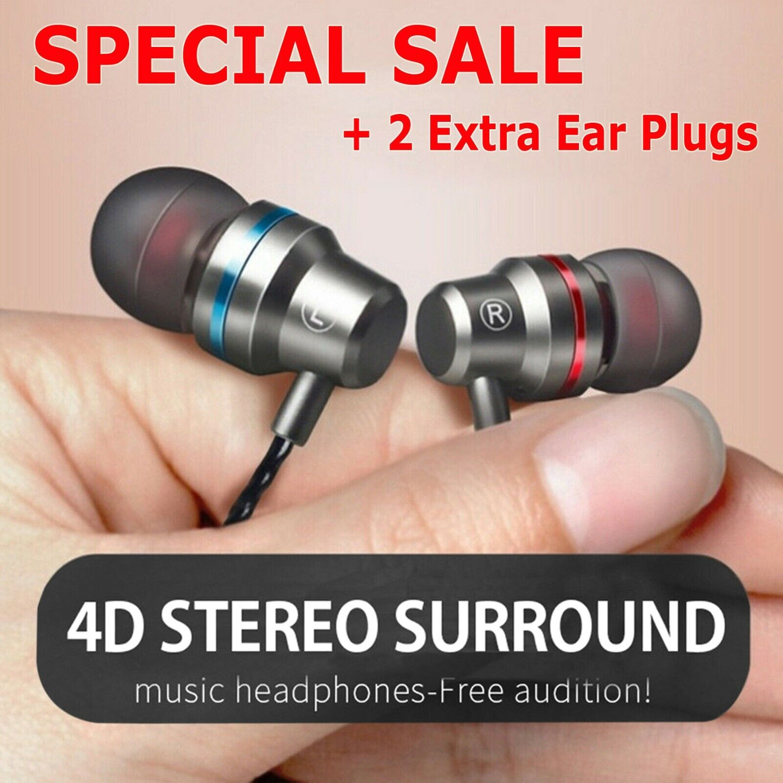 Earbuds In-Ear Sound Isolating Wired Headphones Headset with