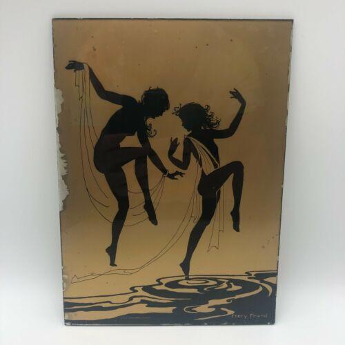 Vintage Ellery Friend Reverse Glass Painting Black Gold Nude Silhouette Art