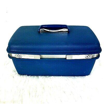 Samsonite Saturn II Train Case Luggage Blue with Mirror Vanity Hardside Makeup