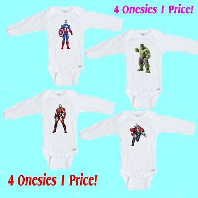 Superhero # 2    4 Pack LONG SLEEVE Romper / Onesie Great  Gift  FREE SHIPPING - Onesie Superhero