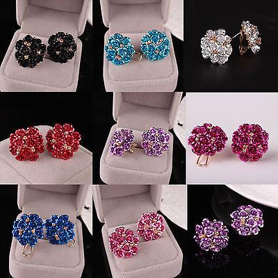 (Women Elegant Rose Flower Crystal Rhinestone Ear Stud Earring Fashion Jewelry)