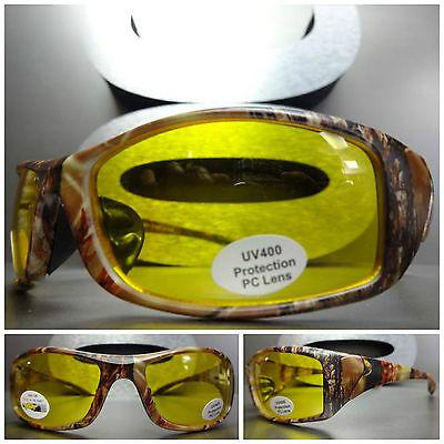HUNTING FISHING SHOOTING DRIVING Brown Camouflage Camo SUN GLASSES Yellow Lens