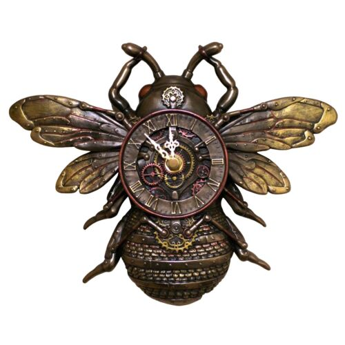 """Steampunk Bee Wall Clock 9.75"""" Wide Cold Cast Bronze New In Box"""