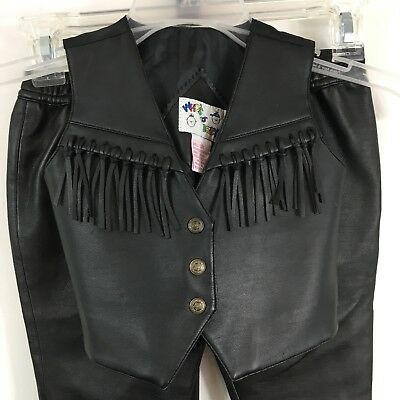 Baby Biker Motorcycle Costume Outfit 24 Mo Black Faux Leather Pants Vest Fringe