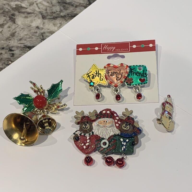 Lot Of 7 Holiday Brooches Pins • Christmas Santa, Snowman, Bell, Etc.