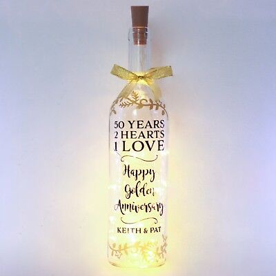 50th Golden Wedding Anniversary Gift Bottle Light, Personalised, 40 Year Parents ()