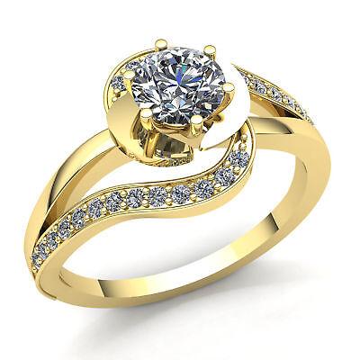 Genuine 0.5ct Round Cut Diamond Ladies Halo Solitaire Engage