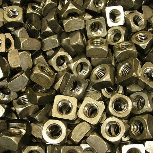 "(100) 1/2""-13 Regular Square Nut Coarse Thread Unplated Plain Finish Steel"