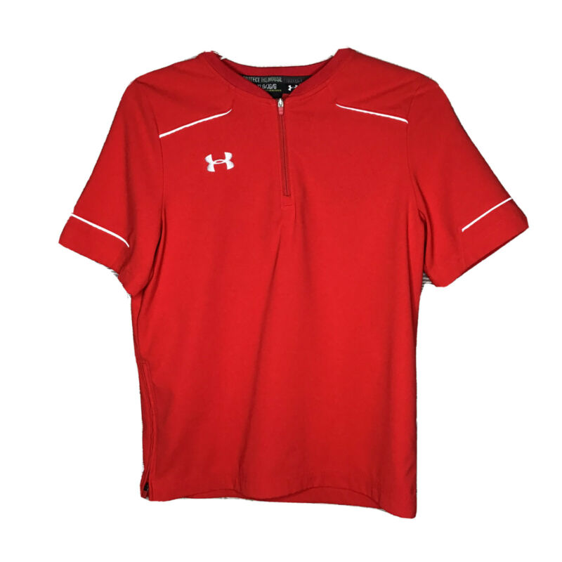 Under Armour Cage Jacket YLG Short Sleeve Red Baseball 0091