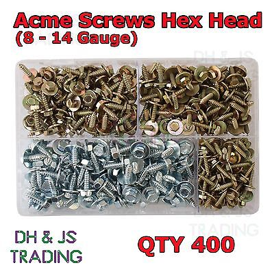 Assorted Box Acme Screws Hex Head BZP Captive Washer Tapper Tappers Hex-head