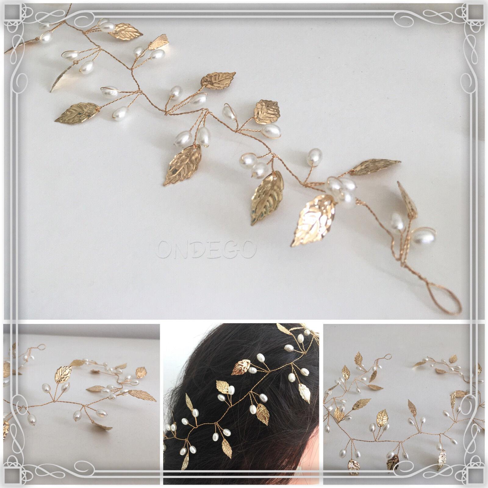 Gold Haarschmuck Brautschmuck Hochzeit Haarkette Haarband Haardraht Perlen