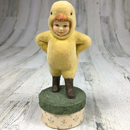 "Bethany Lowe Easter Chick Chicken On Box Halloween Costume 7"" Figurine Trinket"