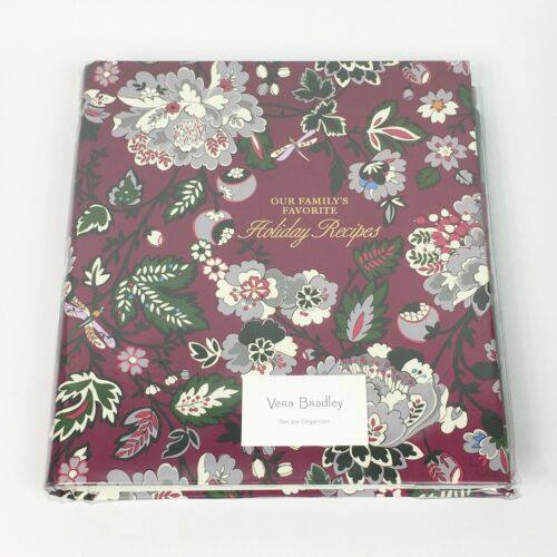 Vera Bradley Bordeaux Blooms Holiday Recipe Organizer Book New