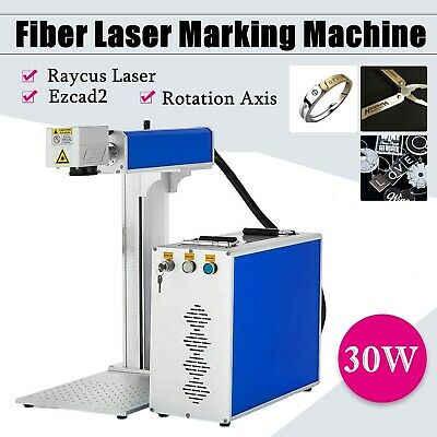 30w Fiber Laser Marking Engraving Engraver Machine Raycus Laser With Rotary Axis