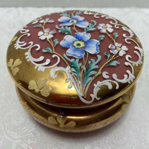 Antique Pink Opaline Glass POWDER BOX Enameled Flowers Gilt Bohemia Vanity Jar