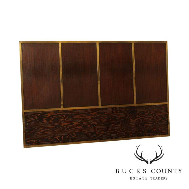 Paul McCobb Mid Century Modern Brass Frame Mahogany Full Headboard