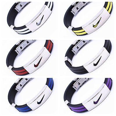 Nike Sport Baller Band Silicone Rubber Bracelet Wristband Cuff Bangle Metal (Rubber Bracelet)