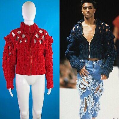 RARE Vintage Vivienne Westwood Red Heavy Knit Jacket 1991 Cut, Slash & Pull Heavy Knit Jacket