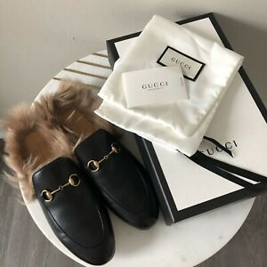 61eb5f7c9a8 Gucci Black Wool Fur Lined Princetown Loafers Size 40.5