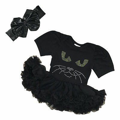 Black Tutu Costumes (Girls Halloween Black Cat Tutu  Costume Headband Boutique Baby Newborn Infant)