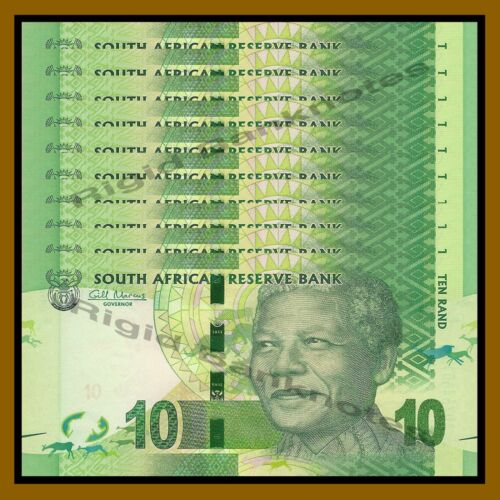 South Africa 10 Rand x 10 Pcs, ND 2012 P-133 Rhino Nelson Mandela Unc