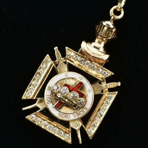 Knights Templar Masonic Fob 14k Gold & 1ctw Diamonds 24.9 grams Not Scrap