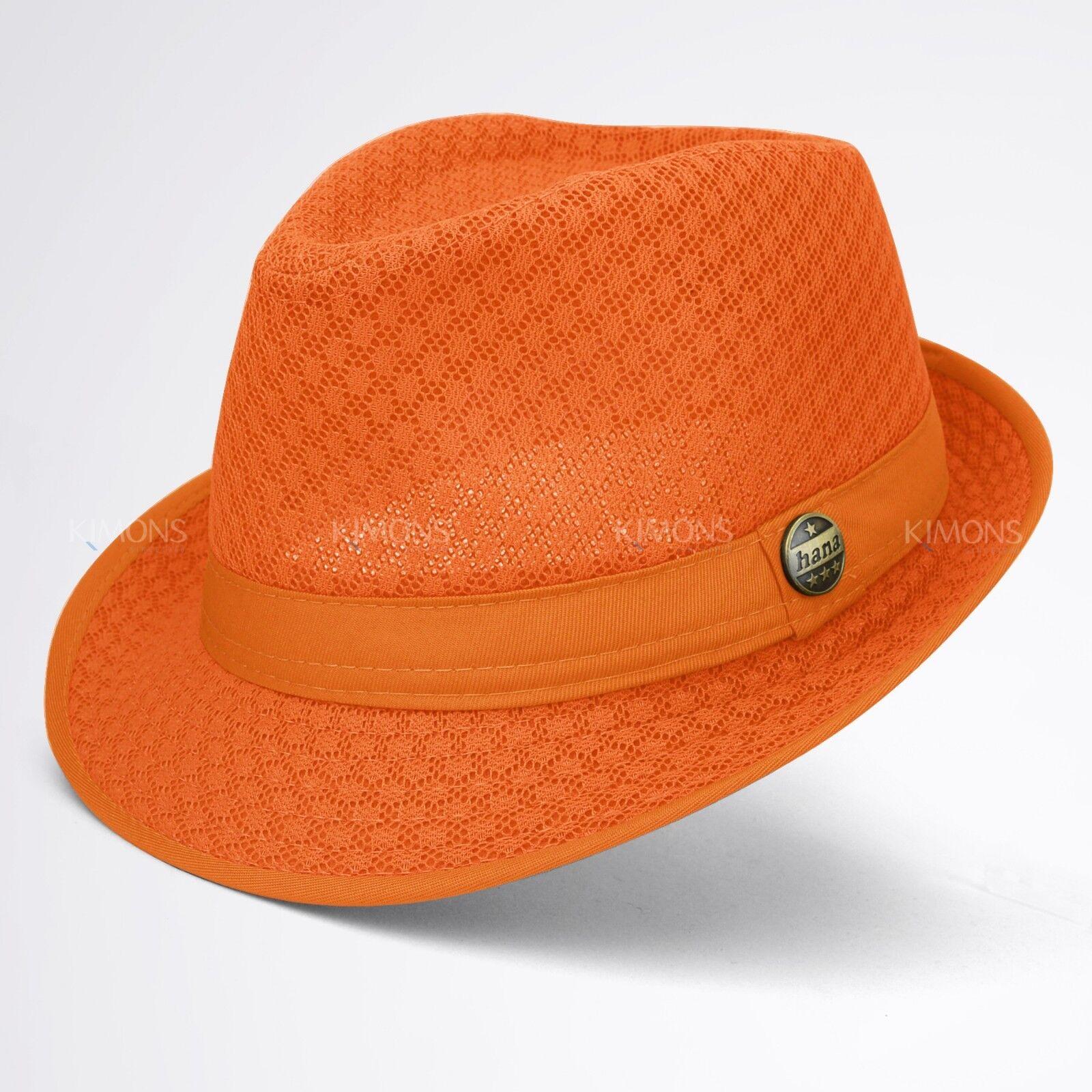 fdcc98546a6167 Light Weight Mesh Fedora hat Soft Cool Summer Classic Trilby Cuban Beach  Sun Cap