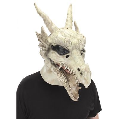 Dragon Mask (Dragon Skull Mouth Mover Latex Halloween Costume Accessory Mask White)