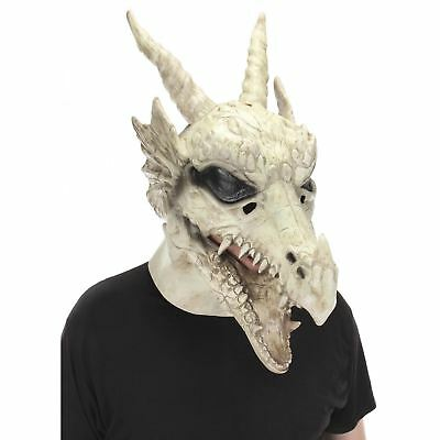 Mouth Mover Mask (Dragon Skull Mouth Mover Latex Halloween Costume Accessory Mask White)